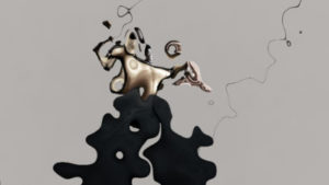 A grey background with a slightly abstract blurry black and gold figure with heels. Top right is written WERX