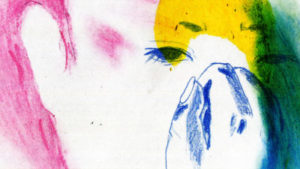 A drawn or painted face of a person with white background, blue outline of eye and eyebrows and a hand covering their face, pink hair, and green and yellow shading over the top and right of their face.
