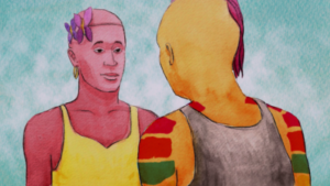 Two drawn or painted people of colour standing facing each other. One with their back to us is painted orange-yellow with a grey vest and red and green stripes on their uppers arms. The other facing us is pink with a purple flower headband and a yellow vest. The background is a torquoise-white shade.