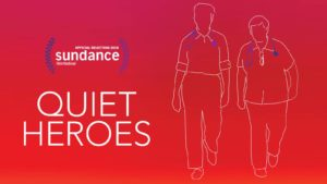 An all red background with 'Quiet Heroes' and 'Sundance' written in white letters and two barely sketched white figures in white.