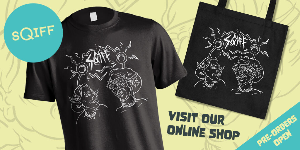 A black t-shirt with a white sci-fi style design of the heads of two smiling human-like aliens. They both have antennas with electric coming from them which makes the word 'sqiff' They are on top of a pale yellow background with another line drawing, the SQIFF logo, and the text: visit our online shop, and pre-orders open.