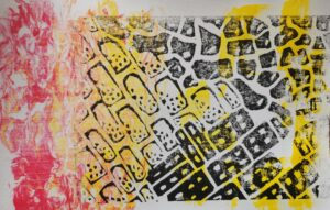 An image of a colorful multimedia print. There are black brick shapes with yellow stripes in the background and red flames off to the side. The print feels cheerful and fiery.
