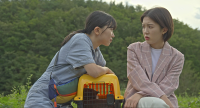 Two people are seated beside each other, one is leaning towards the other on a yellow and black pet carrier, with the outline of a large grey cat inside it. The person has long black hair tied back, and is wearing a blue denim romper. They are looking menacingly at the other person, who is recoiling slightly, with their arms draping on their legs, all limbs crossing one another. They have brown mid-length hair, and are wearing a light coloured checked blazer, beige trousers, and a white top. The background is a forest of trees, out of focus.
